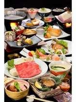 【旬の特選】山海味わい膳★鮑の陶板焼き&米沢牛と置賜豚のしゃぶしゃぶ
