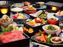 【山の幸雅膳 秋】ブランド牛「山形牛石焼き」「米沢牛すき焼き」を堪能!宴膳よりグレードUPの料理