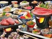 【山の幸雅膳 春夏】ブランド牛「山形牛石焼き」「米沢牛すき焼き」を堪能!宴膳よりグレードUPの料理