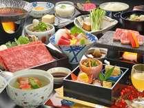 【山の幸雅膳 冬春】ブランド牛「米沢牛石焼き」「山形牛すき焼き」を堪能!宴膳よりグレードUPの料理