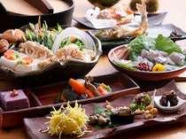 口どけなめらかぷるるん葛料理♪紫芋のごま豆腐など季節の品々が並ぶ