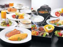 和食、洋食の選択可能な朝食