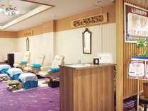 水の王国ラグーンと大浴場「湯酔郷」に隣接する手足頭など部分マッサージでリラクゼーション