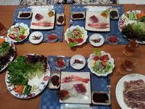 韓国ママの得意料理、プルコギ(三重県産ポーク)赤坂山のイノシシをイメージ、予約時に要オーダー