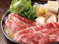 """*お夕食一例(すき焼)/地元の名産品""""飛騨牛""""ですき焼をお愉しみ下さい。※写真はイメージです。"""