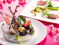 【会席一例】高知県と北海道がテーマ。それぞれの地場食材を存分にご賞味ください(画像は春メニュー)