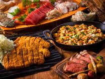 【夕食ブッフェ一例】ガッツリ系男子メニューもご好評です!