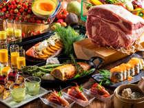 【夕食ブッフェ一例】バラエティ豊富な和洋中ブッフェをご用意しております。