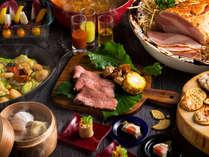 【夕食ブッフェ一例】山海の幸に旬の野菜をたっぷり使ったお料理が勢ぞろい!