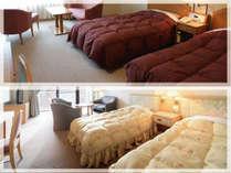 【お部屋】(上)全室ジャグジー付きシャトー館(下)和洋室ウイング館は温泉大浴場に近いお部屋です。