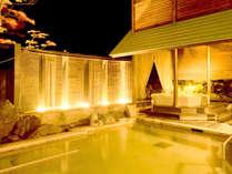 四季を感じることのできる露天風呂は、夜もお愉しみいただけます。(画像は、男性うたたね乃湯)