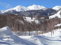 冬はホールや食堂の窓、客室から真っ白な乗鞍岳が望めます