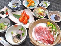 【ご夕食一例】ホエイ豚鍋のお手軽御膳プラン