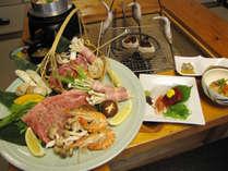 囲炉裏焼き皿盛りがメインの特別コース!旬の食材を使った山里料理をご堪能ください【松コースの一例】