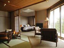 【和みフロア】展望檜風呂付特別室B、和と洋の寛ぎの空間
