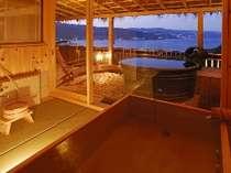 貴賓室『月光の間』の展望檜風呂&露天風呂