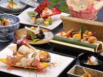 春の創作懐石料理一例!旬の素材をとっても美しくお客様に目でも楽しんで頂いております。