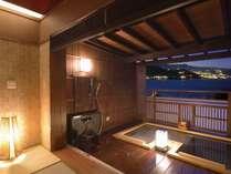 熱海の夜景と海の景色が一望の露天風呂は寝湯を設置