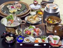 お野菜&魚貝に、陶板焼きなどのお肉料理を盛り込んだ『瀬戸内会席』