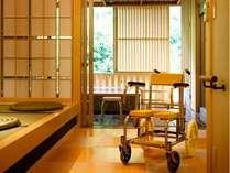 浴用車イスやシャワーベンチもご用意いたします。(要予約)石風呂、檜風呂のみ対応可。