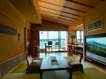 【雲の5】露天付き客室には47インチの大型TVとDVDプレーヤーを設置。