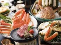 【冬の味覚蟹】そのまま刺し・ボイル・甲羅焼でいただく。しまね和牛は陶板で軽く炙って堪能!