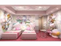 ハローキティ ルーム。 飛行機に乗ったハローキティがお出迎え☆かわいさいっぱいのお部屋。
