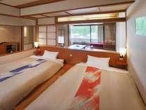 ■本館客室「上層階寛ぎのフロア和洋室」(10畳&モダンツインベット)ベッドルームからのイメージ