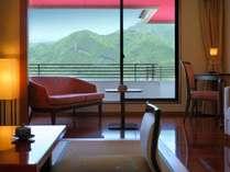 ■本館客室「上層階寛ぎのフロア洋室」(ツインベット+居間12平米)眺望イメージ