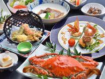 竹崎蟹をメインに季節に応じた料理内容となります/一例