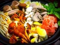 松川館オリジナル地元きのこ10種鍋・手作り麹ポン酢2日仕込み付きでお出汁完飲!
