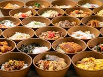 【花吹雪】朝食/種類豊富な「朝のどんぶりご飯」。白米と玄米ご飯をご用意
