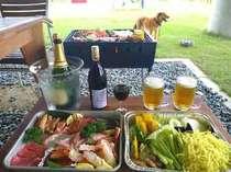 「和牛海鮮バーベQプラン」ご夕食は、レイクサイドドッグランBBQ(屋根有):1泊2食付ドッグラン無料!