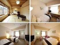 お部屋は和室タイプ、シングルタイプ、ツインタイプ、ダブルタイプのいずれかになります。