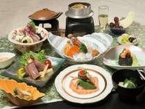 風味豊かな魚貝の陶板焼き、さっぱりとした味わいの牛肉野菜巻きなど当宿おすすめ会席♪風林火山プラン♪