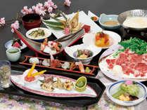 豆乳で頂く牛しゃぶと、鯛や鰆に菜の花や山菜で彩りを添えた華やかなプラン【富士桜プラン3月~5月】