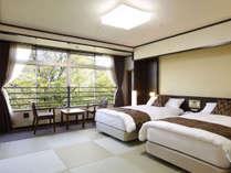 *【和室ベッドタイプ/トイレ付】琉球畳にセミダブルのシモンズベッドを配した快適な客室