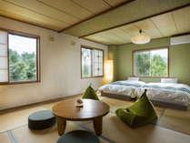 当館で一番広いペンション街側の和室12.5畳花フロア
