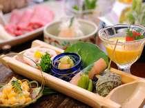 地元の素材や厳選された食材を使ったお料理(一例)
