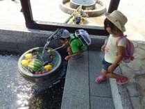 綺麗な湧き水が庭の池や館内に流れています。飲用、調理、お風呂、全てにこの湧水を使用しています。