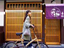 宿にあるおしゃれな自転車で京都をぶらりと散策していただけます。(使用料無料・2台設置)