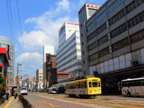 ホテル正面付近/長崎名物・ちんちん電車