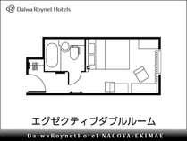 【間取り(例)】エグゼクティブダブル 18平米 154cm幅ベッド