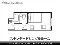 【間取り(例)】スタンダードシングル 18平米 154cm幅ベッド