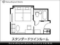 【間取り(例)】 スタンダードツイン 25平米 110cm幅ベッド