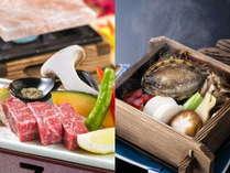 「秋田牛の岩塩焼き」or「あわびのせいろ蒸」選べるアップグレートプラン♪