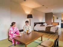 <和洋室>6畳の和室とツインベッドルームを配した使い勝手の良いお部屋です。