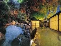 ▲2タイプある貸切露天風呂(左:庭園タイプ 右:離れタイプ)