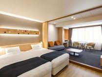 【スタンダードツイン】客室のベッドはハリウッドツインタイプを採用しております。