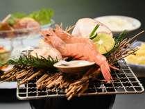 本海老・蛤・アオリイカと野菜の網焼き